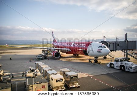 Osaka, Japan - October 2016: Air Asia X aircraft landed at Kansai International Aiport, Osaka, Japan. Air Asia X is a long-haul, budget airline based in Malaysia; and a sister company of AirAsia.