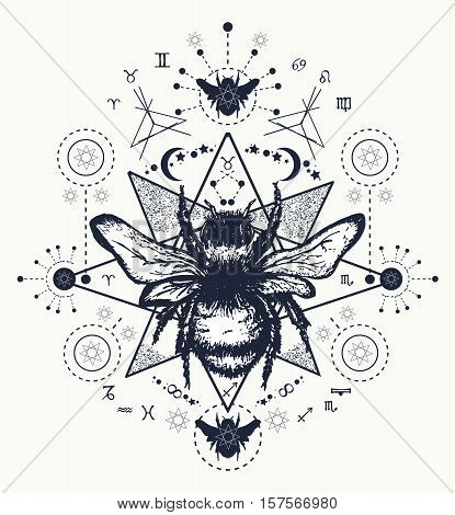 Bee tattoo art. Hand drawn sketch of bumblebee. Bee tattoo sketch.