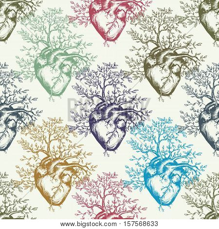 Anatomical human heart from which the tree grows art seamless pattern. Heart tattoo art pattern art colorful heart vector illustration