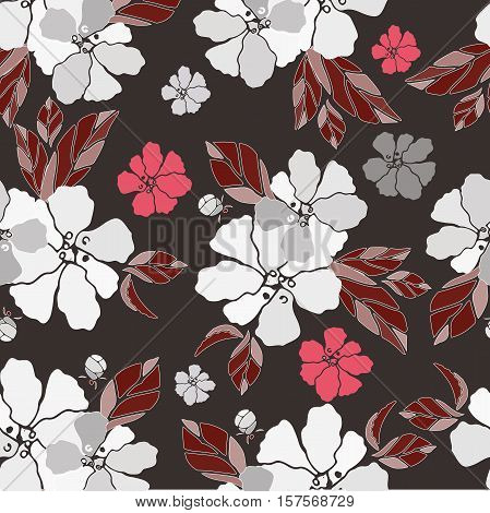 vector siamless pattern with flower and bouquet