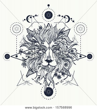 Ornamental Tattoo Lion Head. Mystic Lion sketch tattoo art