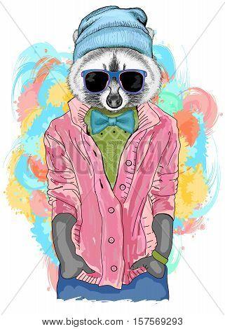 Hipster raccoon fashion animal illustration. Fashion portrait of hipster raccoon