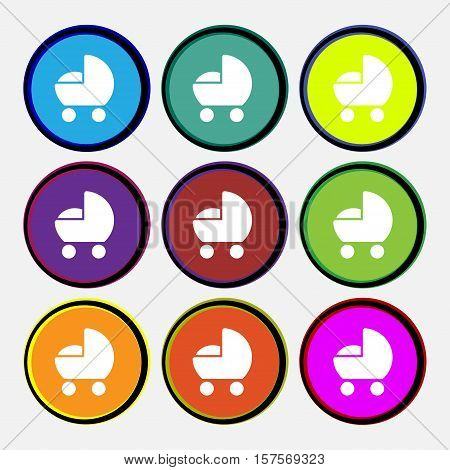 Baby Pram Icon Sign. Nine Multi Colored Round Buttons. Vector