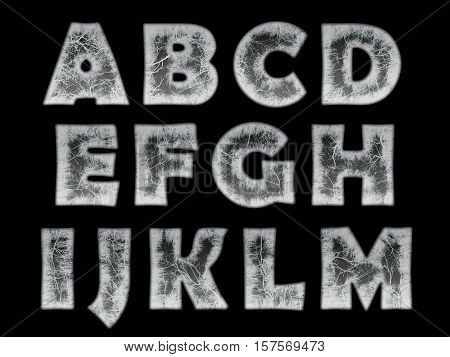 frozen water - ice in the shape of the alphabet on black background