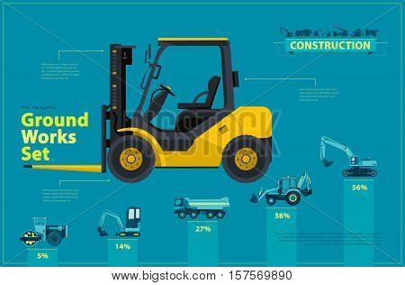 Yellow forklift. Blue infographic big set of ground works blue machines vehicles. Catalog page. Heavy construction equipment for building truck digger crane bagger mix. Transportation master vector.