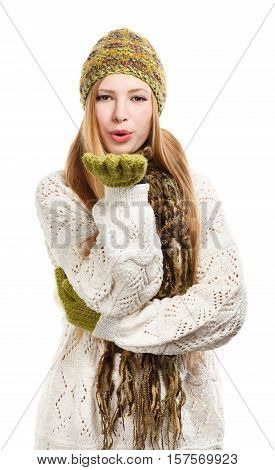 Young Beautiful Stylish Blonde Woman In Variegated Knitted Hat, Scarf With Fringe, Mittens And Long