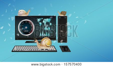 a slow desktop computer with many snail