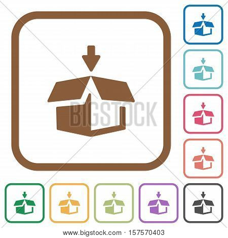 Pack simple icons in color rounded square frames on white background