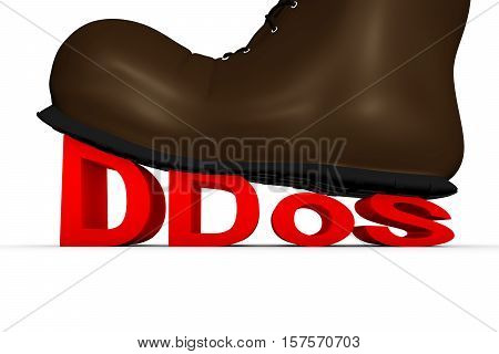to crush DDoS white background 3d illustration