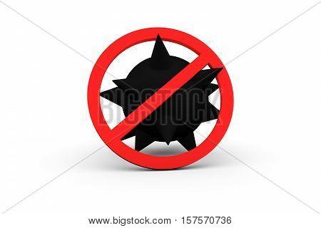 virus the ban on white background 3D illustration