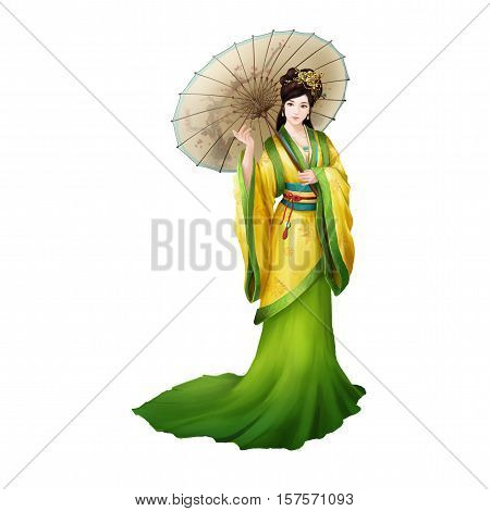 Ancient Chinese People Artwork: Beautiful Lady, Princess, Beauty with Umbrella. Video Game's Digital CG Artwork, Concept Illustration, Realistic Cartoon Style Background and Character Design