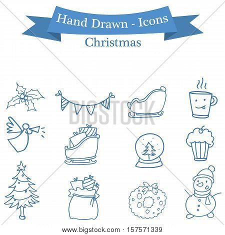 Stock Christmas icons set collection vector art