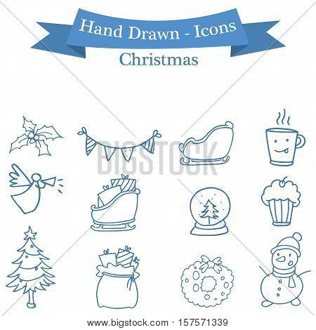 Stock Christmas icons set collection vector art