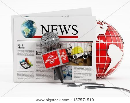 Newspaper microphone and globe isolated on white background. 3D illustration.
