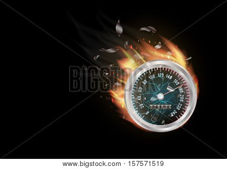 odometer with fire burning on a white background