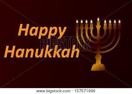 design style Happy Hanukkah logotype, badge and icon typography. Lettering of happy Hanukkah logo template. Happy Hanukkah card template. Happy Hanukkah banner, flyer