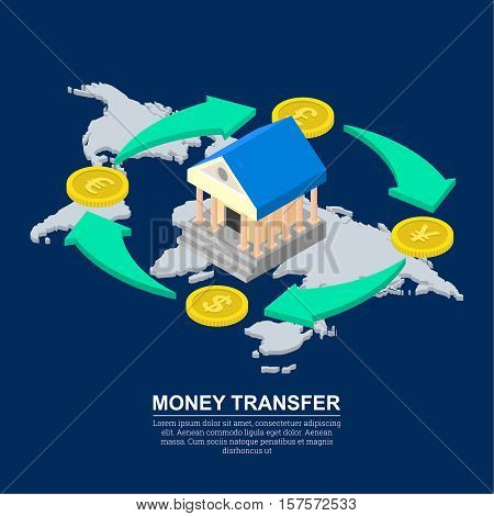 Vector illustration currency exchange. Coins dollar euro pound sterling yuan in isometric style. Shooters of exchange. Transactions of a cash transfer. Bank cash perevody.3d style.