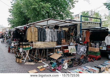 Amsterdam Netherlands - August 1 2016: Flea market in Amsterdam
