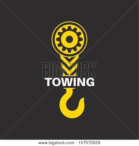 Tow truck icon. Wrecker logotip. Towing hook. Round the clock evacuation of cars. Winch. Design can be used as a logo a poster advertising singboard. Vector element of graphic design