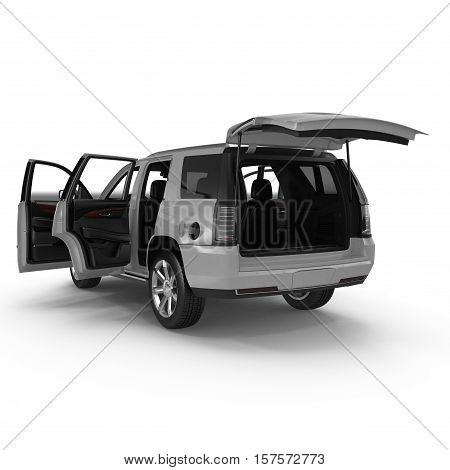 luxury 4x4 suv car isolated on white background. Doors opened. 3D illustration