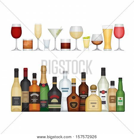 Set Of Different Alcohol Bottle And Glasses. Alcohol Drinks And Beverages. Flat Design Style, Vector