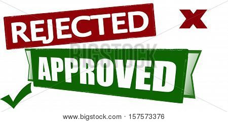 Rubber stamp with words rejected and approved inside vector illustration