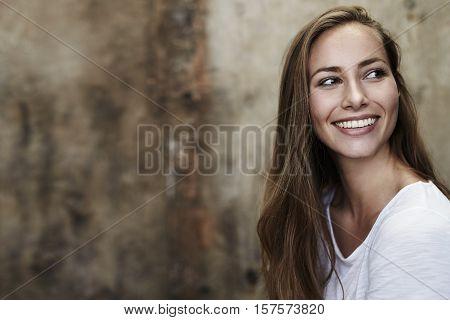 Brown eyed girl with long hair studio