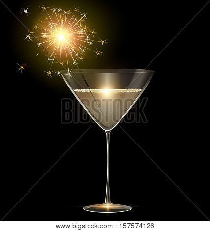 dark background and the glass of champagne with burning sparkler inside