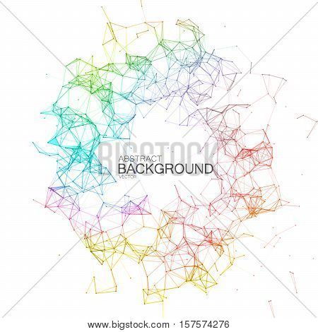 Plexus Iridescent Geometric Wreath. Vector Technology Illustration Of Futuristic Polygonal Cyber Structure. Abstract Rainbow Digital Frame