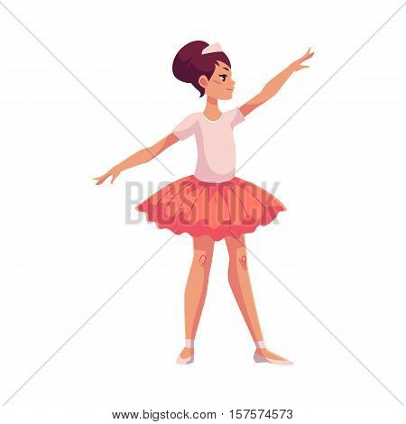 Full length profile portrait of graceful pretty young ballerina in pink tutu, cartoon style vector illustration isolated on white background. Little ballet dancer in pink tutu dancing classical ballet