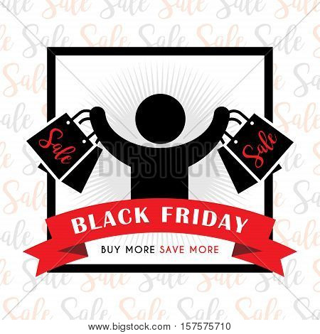 Black friday sale of stick figure man with shopping bags. Symbol or icon of shopper. Vector shopping pictogram.