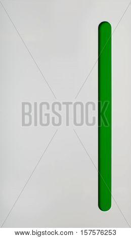 Kitchen cabinet door. White with green part