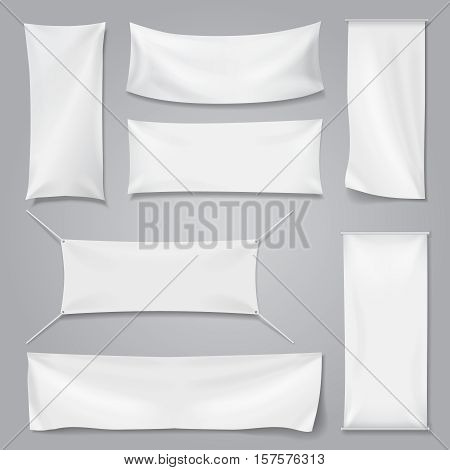 White textile advertising banners with folds template set. Blank mock up cotton flag, Vector illustration