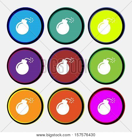Bomb Icon Sign. Nine Multi Colored Round Buttons. Vector