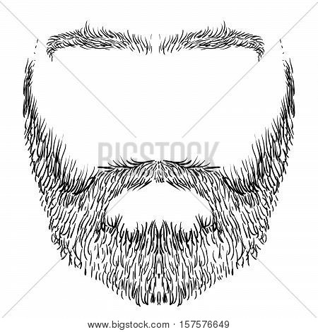 form of beard, mustache and eyebrows, freehand drawing