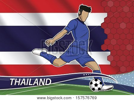 Vector illustration of football player shooting on goal. Soccer team player in uniform with state national flag of thailand