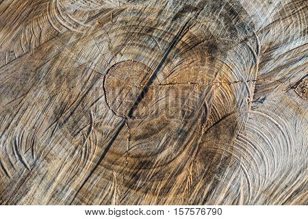Structure of wood that have been shaped by a chainsaw.