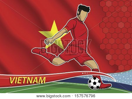 Vector illustration of football player shooting on goal. Soccer team player in uniform with state national flag of vietnam.