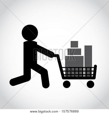 Stick figure man pushing shopping cart with goods. Symbol or icon of shopper. Vector shopping pictogram.