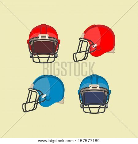 American football red and blue helmets. Front and side view on football protective mask. Hard plastic shell with thick padding on inside, face mask made of metal bar, chinstrap. Vector illustration