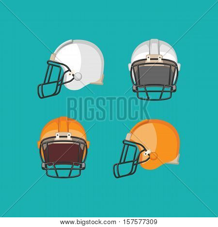 American football white and orange helmets isolated on blue background. Front and side view on football protective mask. Ediable element. Modern soccer facemask. Sport equipment. Vector illustration