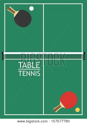 a top view of table tennis table