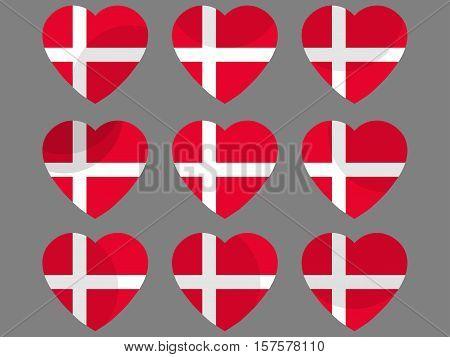 Hearts With The Denmark Flag. I Love The Denmark. Denmark Flag Icon Set. Vector Illustration.