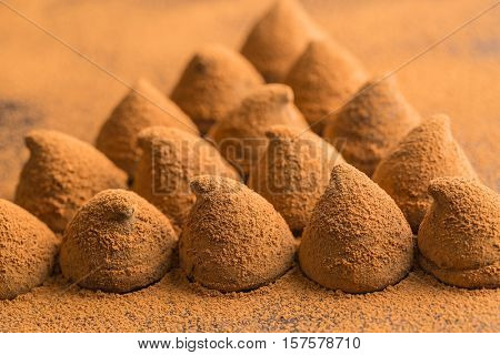 The sweet chocolate truffles and cocoa powder.
