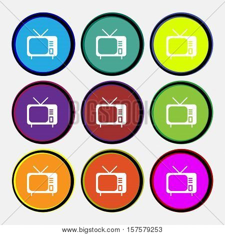 Tv Icon Sign. Nine Multi Colored Round Buttons. Vector