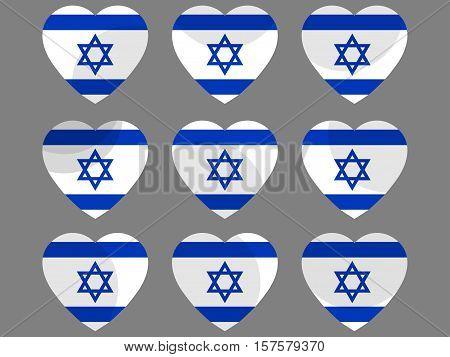 Hearts With The Israeli Flag. I Love The Israel. Israel Flag Icon Set. Vector Illustration.