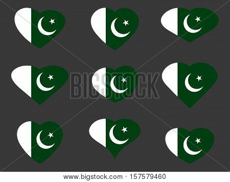 Hearts With The Pakistan Flag. I Love The Pakistan. Pakistan Flag Icon Set. Vector Illustration.