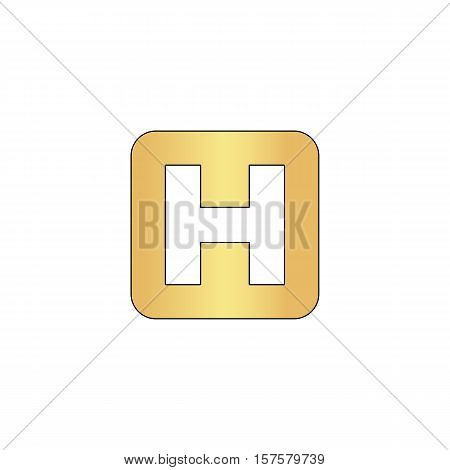 Helipad Gold vector icon with black contour line. Flat computer symbol