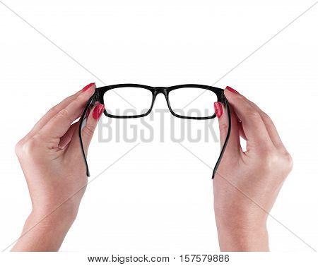 Black Eye Glasses in women's hand Isolated on White background