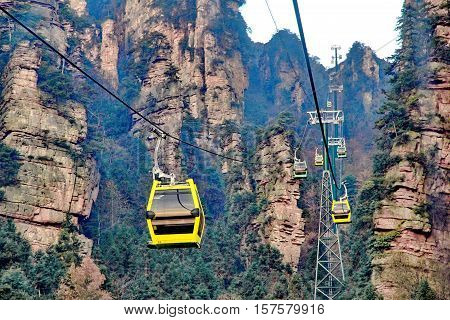 Colorful of Longest Cable Car In The World (Tianmen Shan Zhang Jia Jie) Hunan China.